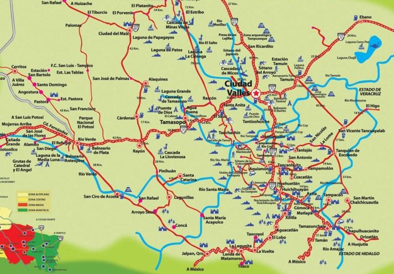 Map of the Huasteca Potosina