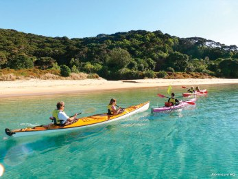 Kayaking the Bay of Islands north of Auckland.
