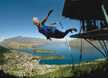 The infamous AJ Hackett Bungy jump overlooks the town of Queenstown below.