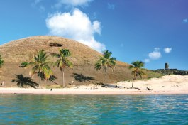 Anakena beach is popular with visitors and locals alike.