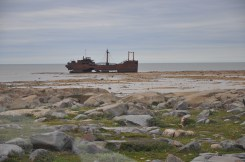 The wreck of the MV Ithaca on the beach at low tide.
