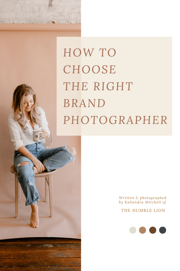 "This image includes a text overlay that says, ""How To Choose The Right Brand Photographer"" to ideally save as a pin on Pinterest."