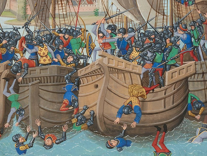 Cropped detail of the Battle of Sluys, 1340. From Froissart's Chronicles