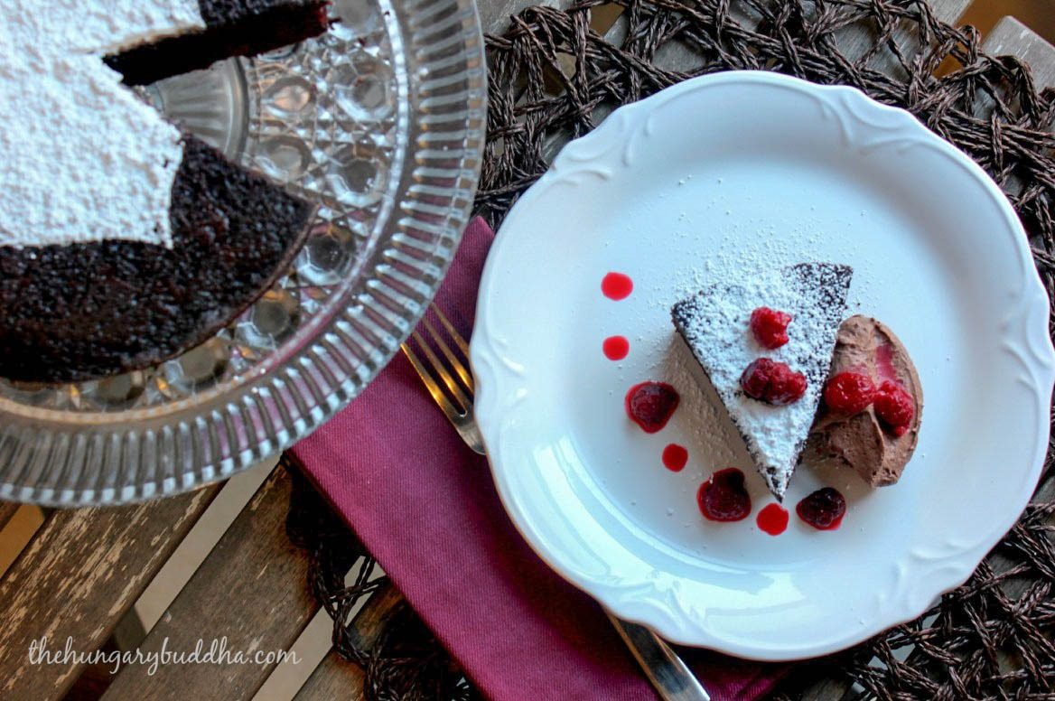 red wine dark chocolate raspberry cake