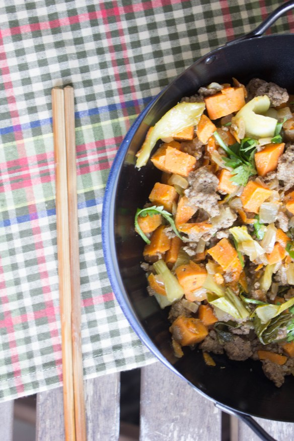 beef and sweet potato stir fry