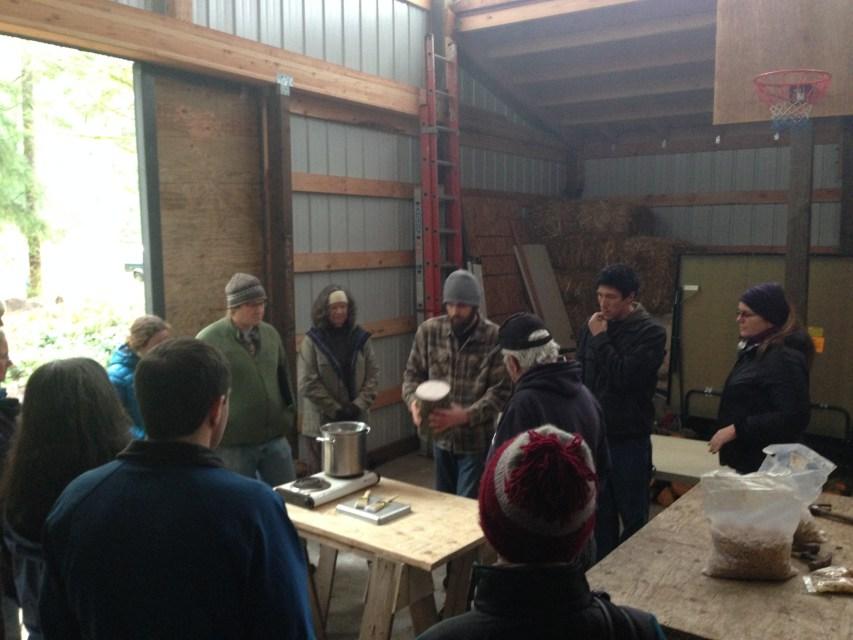 Christian Kaelin makes mushroom logs by Jason Price