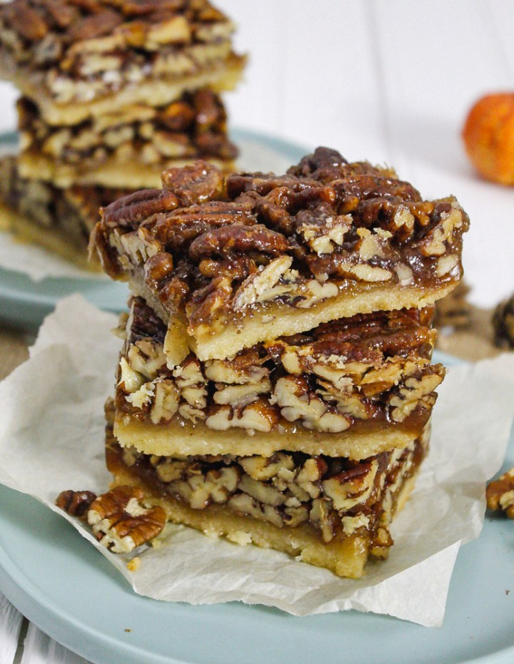 Healthy Vegan Pecan Bars with a shortbread crust and loaded with nuts.