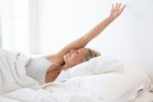 woman in good mood after waking up in the morning