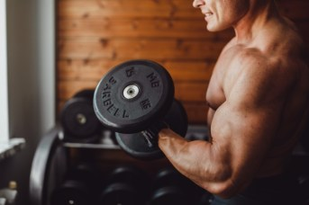 man exercise in home-gym