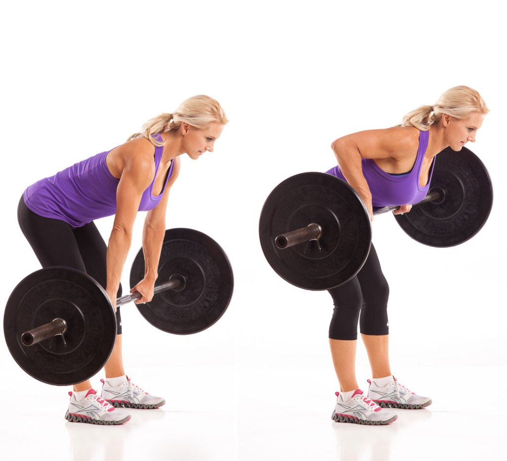 woman doing barbell row exercise