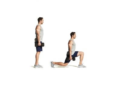 man doing walking lunges exercise