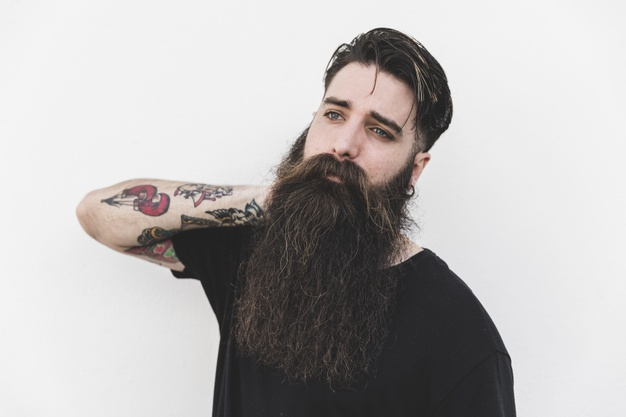 handsome man with long well groomed beard