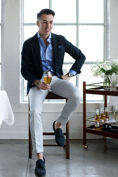 asian handsome man chinos jacket shirt party wear trend