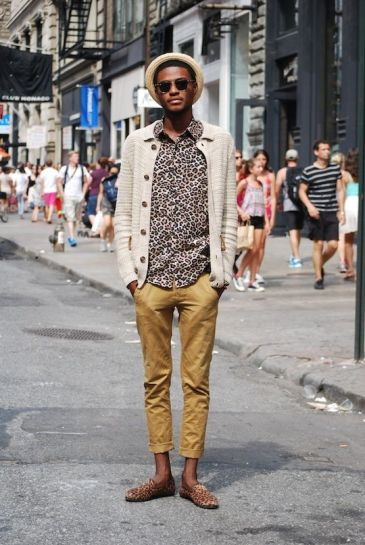 handsome black man wearing animal print clothing fashion