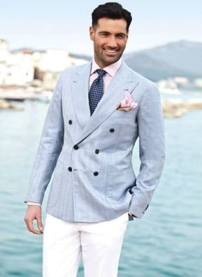 double breasted baby blue color blazer men