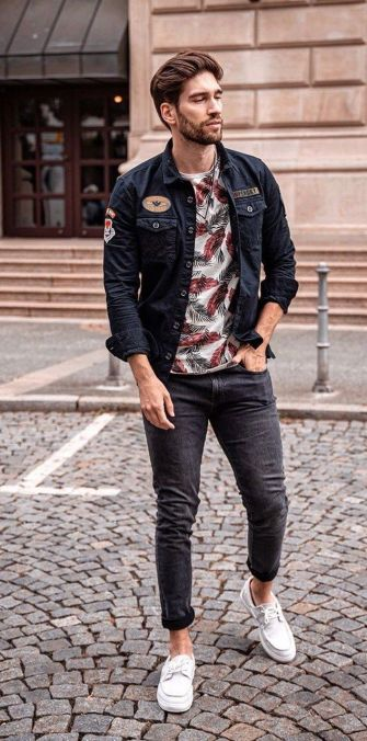 denim jacket with graphic tee style trend men