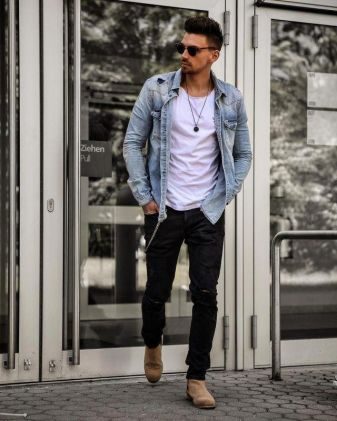 stylish men tee with denim jacket outfit trend