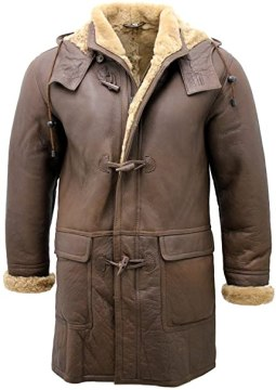 Infinity Men's Brown Sheepskin Leather Detachable Hood Duffle Coat