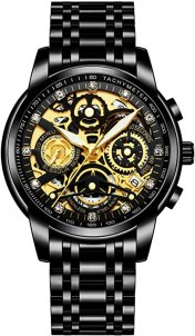 NEKTOM Men's Watches with Mechanical Appearance Stainless Steel and Metal Casual Waterproof Chronograph