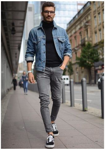 Turtleneck Sweater with Denim, Sneakers and Jacket