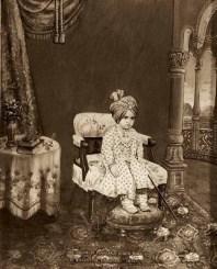 Painted photograph of Maharaja Kishen Singh (b. 1899, r. 1900-1929) of Bharatpur, c. 1900