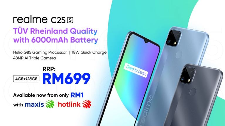 Own The Latest realme C25s for Just RM 1 with Maxis or Hotlink