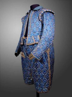 The stunning blue silk court suit made for Christian II, Elector of Saxony