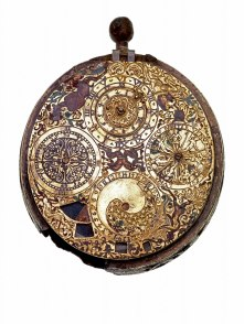 A gilt brass watch, the only signed piece of jewellery in the Hoard, made by Gaultier Ferlite in Geneva between 1610 and 1620