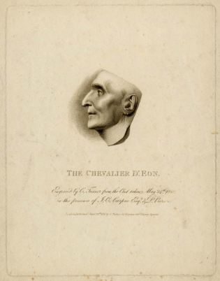 Print by Charles Turner showing the Chevalier d'Eon in profile, taken from his death mask. Published on 24 June 1810