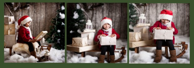 photgrapher glasgow- girl on sledge dressed in red duffle coat and santa hat opening a present with fake snow