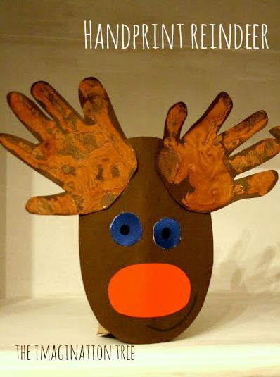 Handprint Reindeer Christmas Craft The Imagination Tree