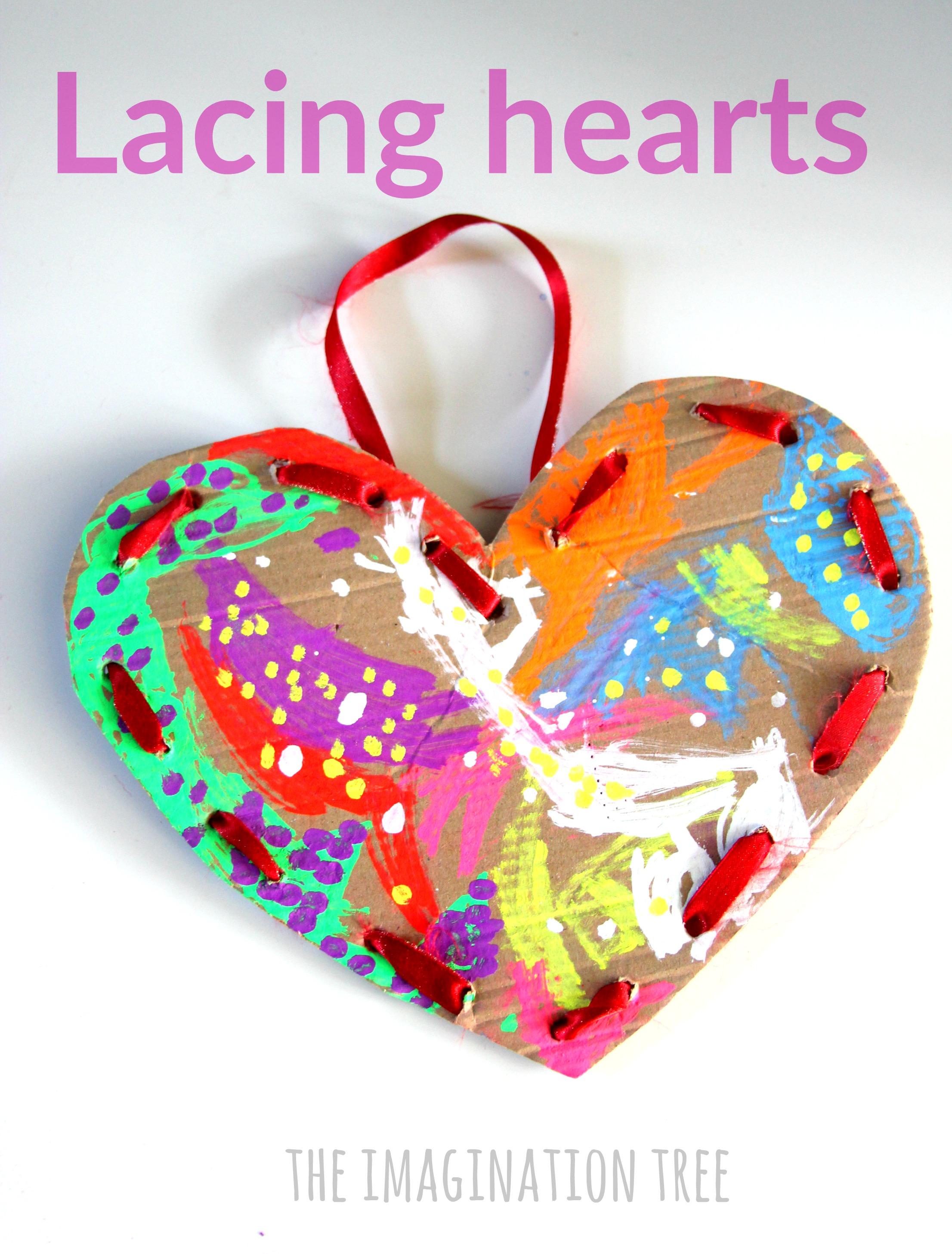Cardboard Lacing Hearts