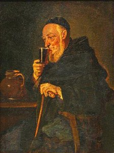European Monk Drinking Wine