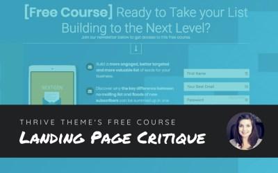 Landing Page Critique: Thrive Theme's Free Course