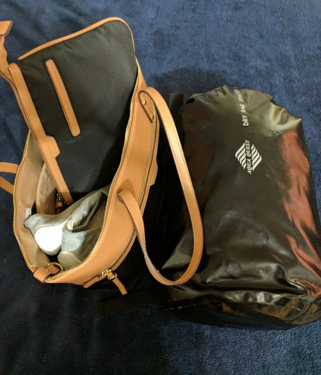 'Personal Item' purse on left, Backpack on right
