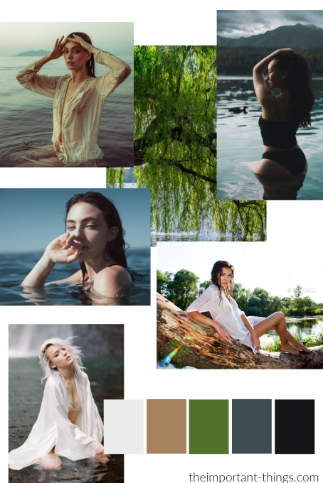 Example of a moodboard created by a model for a photoshoot.