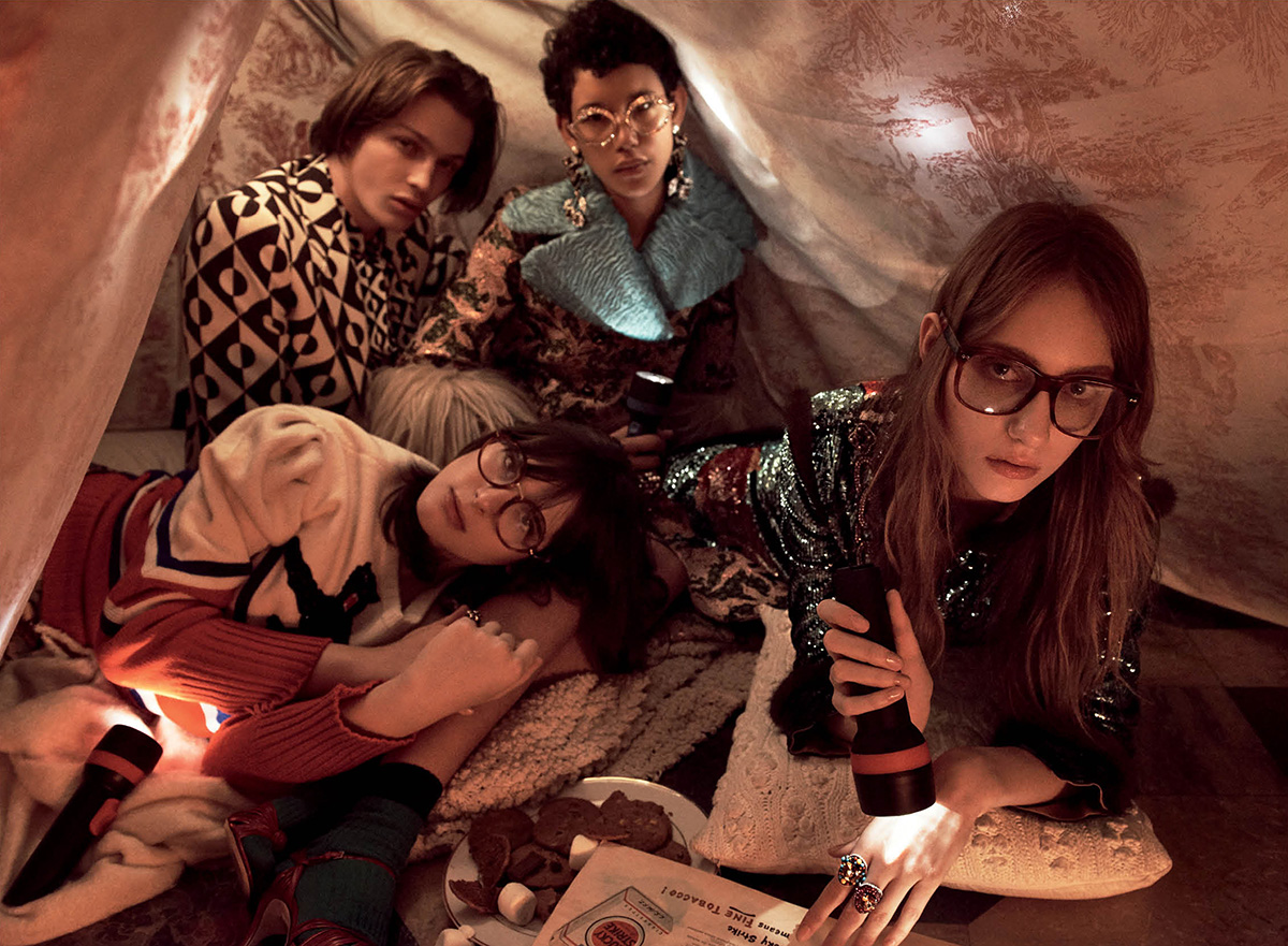 THE PLAYROOM ALESSANDRO MICHELE FOR GUCCI | Lucas Satherley, Hari Nef, Dilone & Lia Pavlova