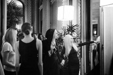 Backstage at Atelier Versace Spring 2014 show, Paris, photo Rahi Rezvani. Pictured: Donatella Versace, Lady Gaga, Pat McGrath, Melanie Ward, and the atelier.