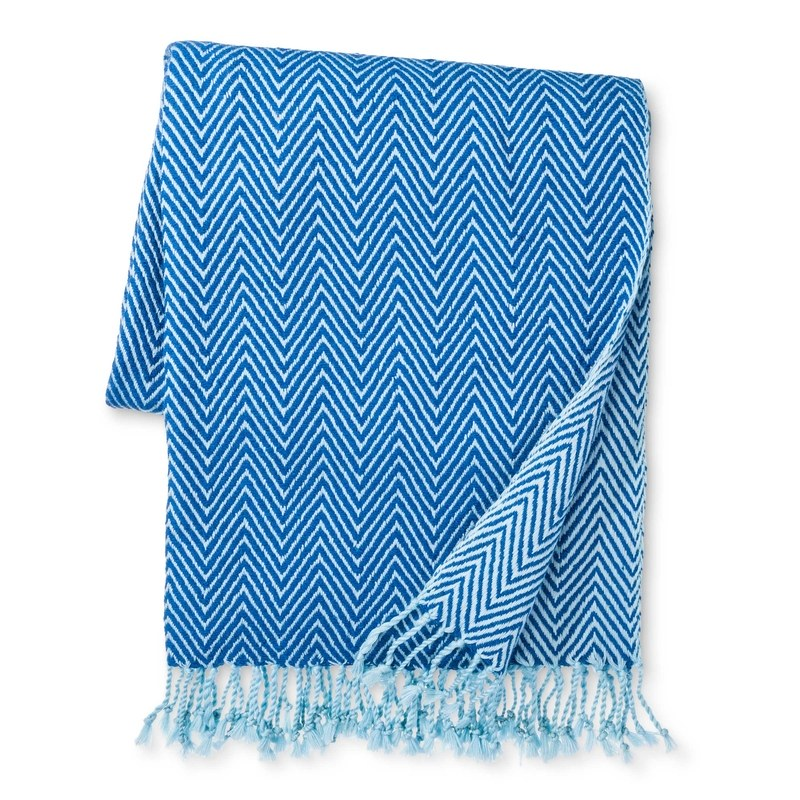 Accompany Us to Target Herringbone Throw Made in Bhagalpur, India, in Light Blue and Royal Blue