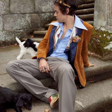 Harry Styles for Gucci Cruise 2019 Men's Tailoring Campaign