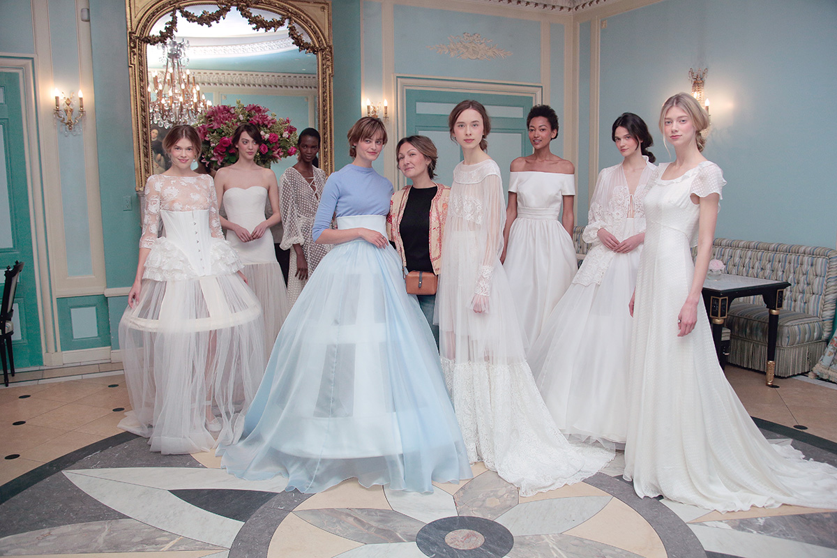 NEW YORK, NY - APRIL 18: Models pose with Delphine Manivet (c) during her Delphine Manivet Spring Summer 2017 Bridal Presentation on April 18, 2016 in New York City. (Photo by Randy Brooke/Getty Images for Delphine Manivet)