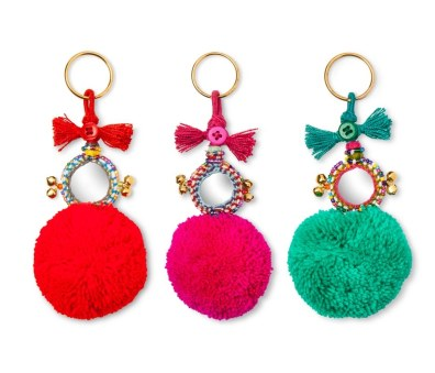 Accompany Us to Target Pom Pom Keychains Made in Jaipur, India, in Red, Fuchsia, and Aqua