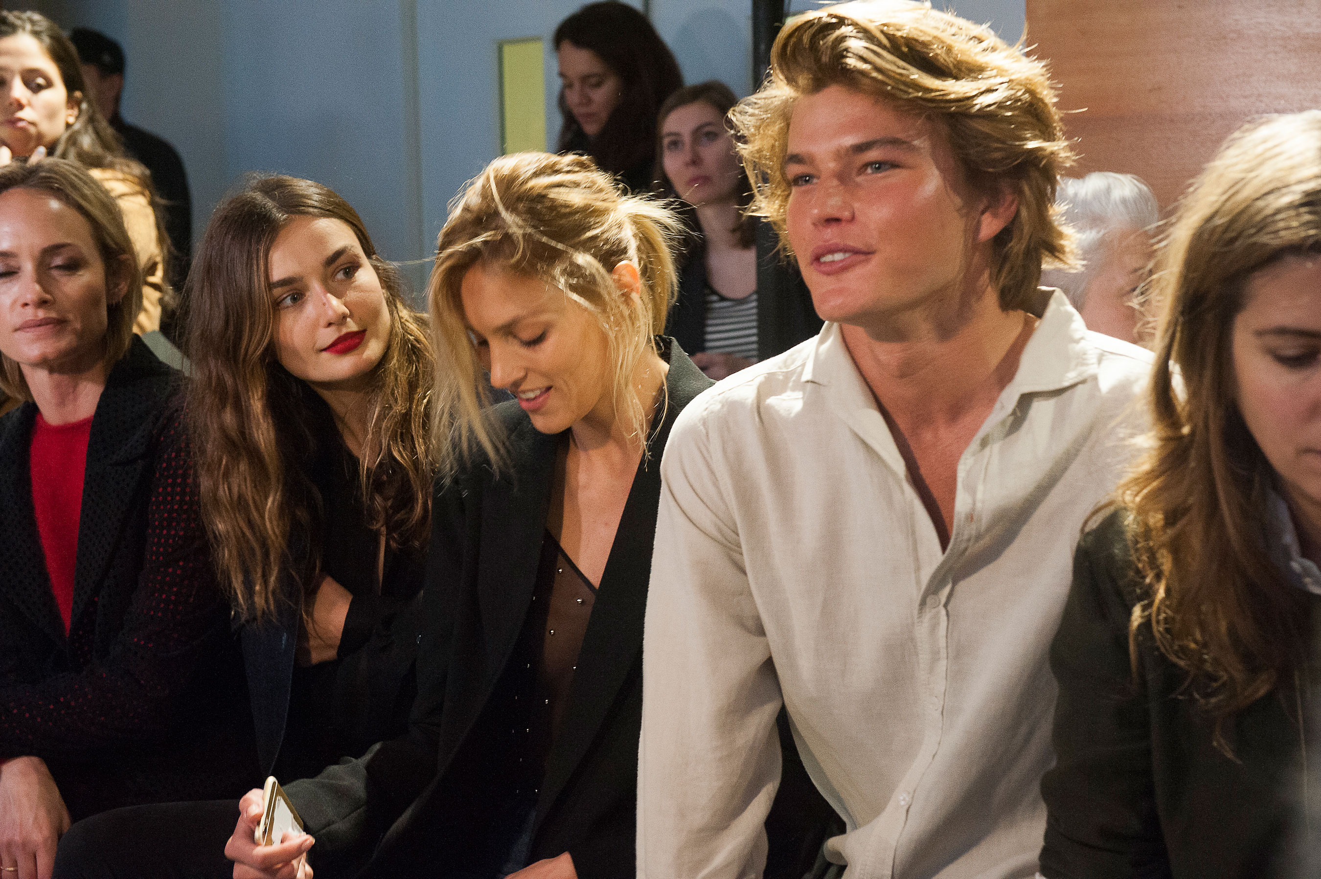 Anja Rubik & Jordan Barrett at Anthony Vaccarello