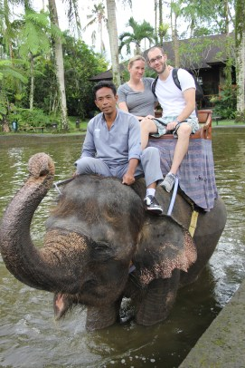 Sam and Melanie, Elephant Safari Park, Bali, Indonesia