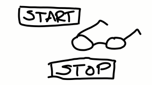 Start and stop button and pair of glasses