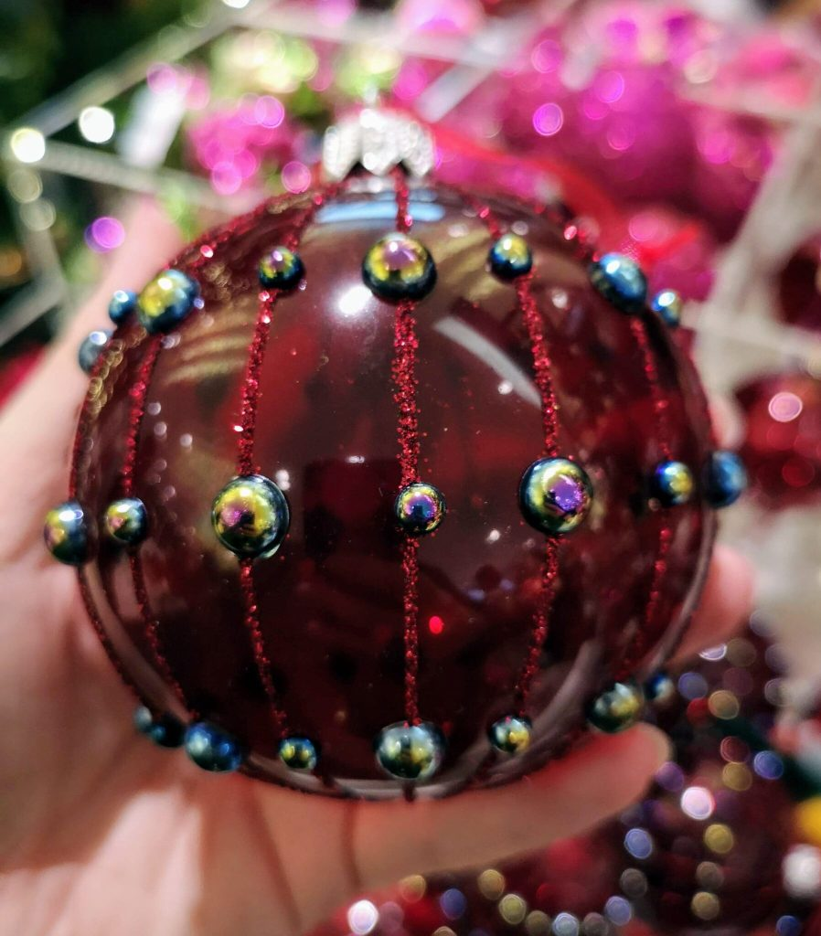 Ruby red Christmas bauble, john lewis