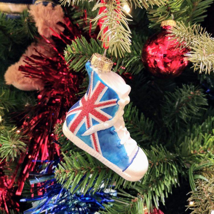 Union Jack high tops, union jack decoration, John Lewis Christmas shop