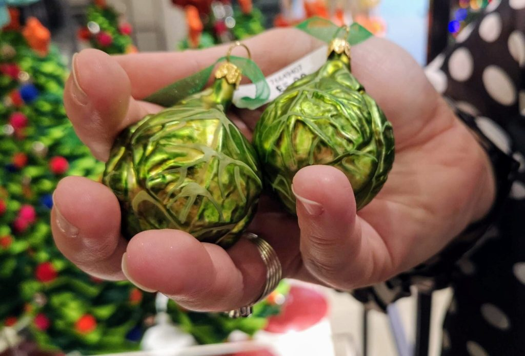 brussels sprouts, john lewis christmas shop, whacky decorations
