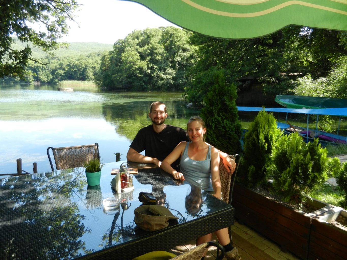 Nathanael and Ashleigh relaxing at a restaurant near St. Naum, Ohrid, Macedonia