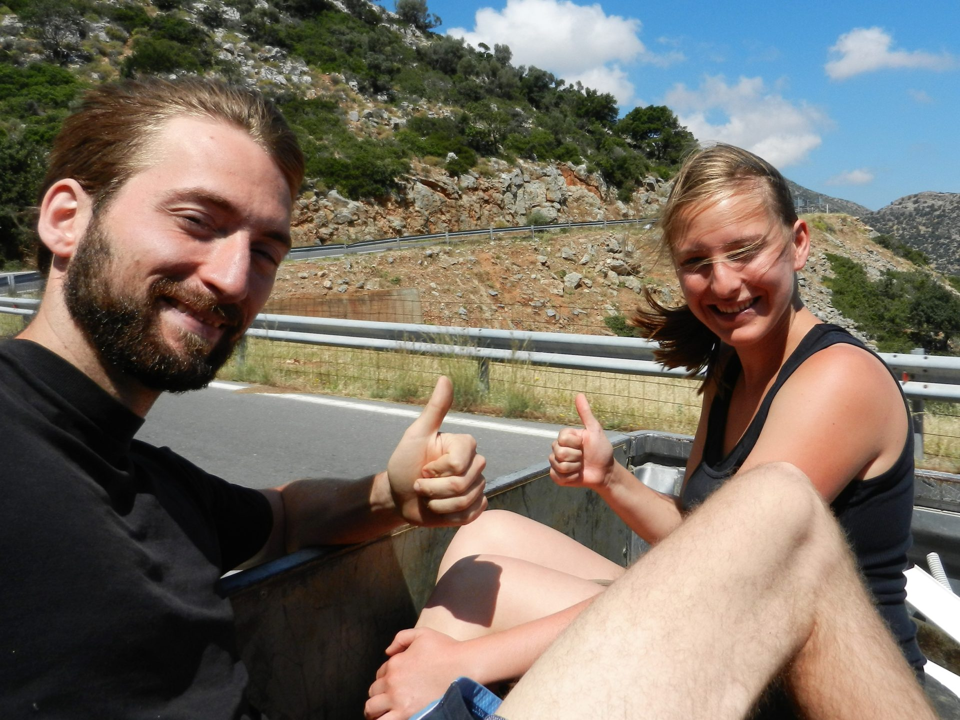 Nathanael and Ashleigh, Hitchiking from Mohos to Stalida, Crete, Greece